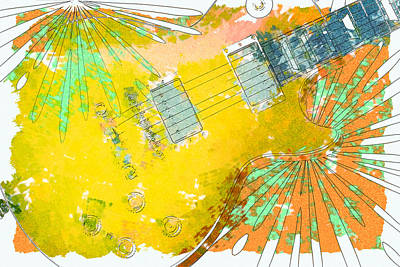 Abstract Guitar Print by David G Paul