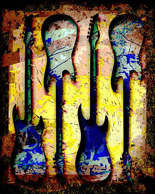 Abstract Guitars Art Print by David G Paul