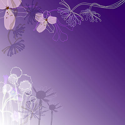 Purple Flowers Digital Art - Abstract Illustration With Flowers by Stock4b-rf
