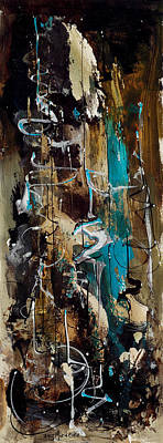 Painting - Abstract In Blue And Brown by Richard Mordecki