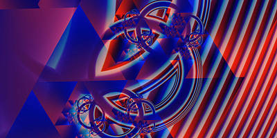 Art Print featuring the digital art Abstract In Red And Blue by Mario Carini