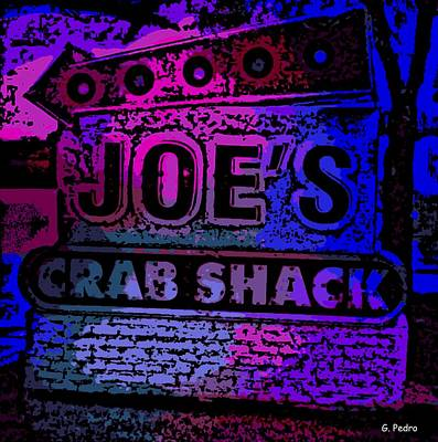 Photograph - Abstract Joe's Crabshack Sign by George Pedro