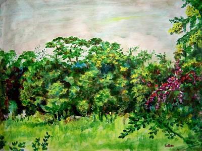 Indian Painting - Abstract Landscape 6 by Usha Shantharam