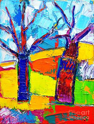 Abstract Landscape - Dancing Trees Original by Ana Maria Edulescu