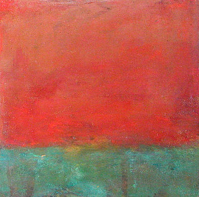 - Abstract Landscape - Red Sky by Kathleen Grace