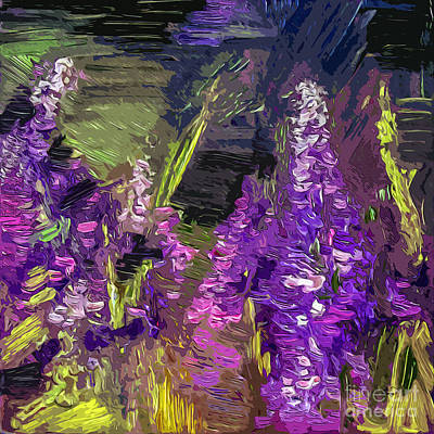 Abstract Lupines Decorative Art By Ginette Art Print by Ginette Callaway