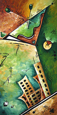 Abstract Martini Cityscape Contemporary Original Painting Martini Hour By Madart Art Print