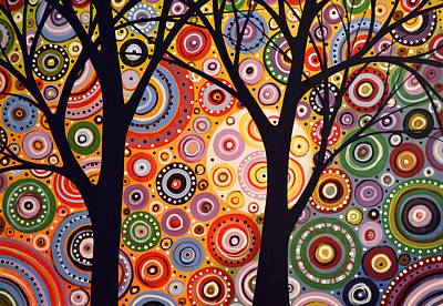 Abstract Modern Tree Landscape Distant Worlds By Amy Giacomelli Original
