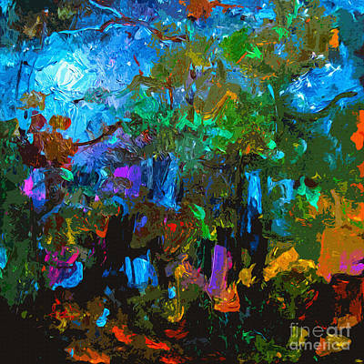 Abstract Moonlight Through The Pines Art Print