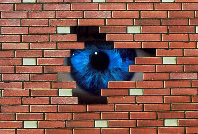 Oppression Photograph - Abstract Of Eye Looking Through Hole In Brick Wall by Mehau Kulyk