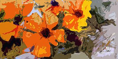 Abstract Orange Flowers  Art Print