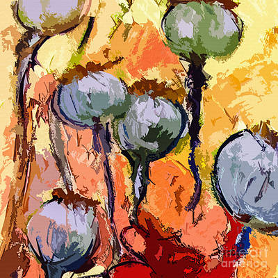 Abstract Poppy Pods Square Format Art Print by Ginette Callaway