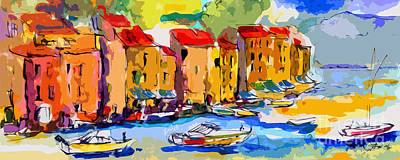 Portofino Italy Painting - Abstract Portofino Italy And Boats by Ginette Callaway