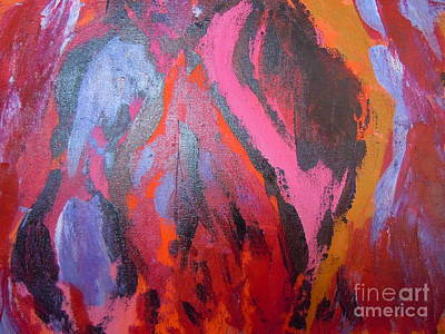 Abstract-red Cave Art Print by Soho