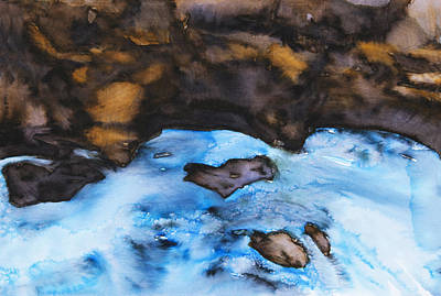 Peaceful Scene Painting - Abstract River by Tara Thelen