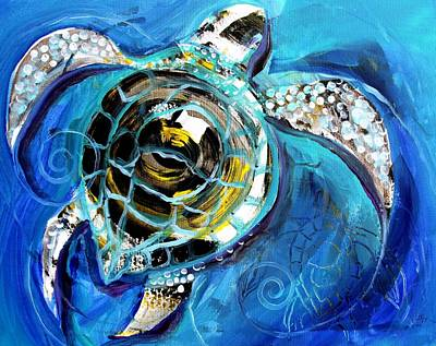 Baby Sea Turtle Painting - Abstract Sea Turtle In C Minor by J Vincent Scarpace