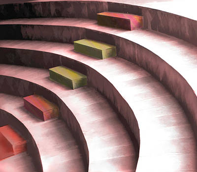 Impressionistic Digital Painting - Abstract Seating In The Round by Elaine Plesser