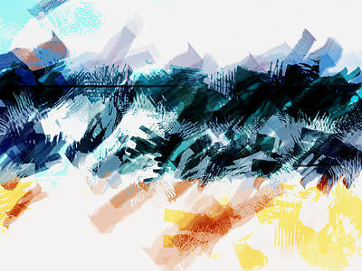 Abstract Digital Painting - Abstract Sky Sea And Sand by Elaine Plesser