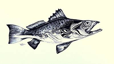 Speckled Trout Painting - Abstract Speckled Trout by J Vincent Scarpace