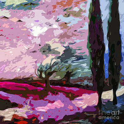 Abstract Square Landscape Cypress Trees Lavender Art Print