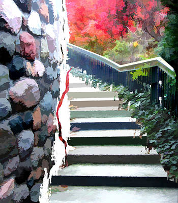 Impressionistic Digital Painting - Abstract Staircase In The Garden by Elaine Plesser