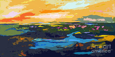 Ginette Mixed Media - Abstract Sunset Landscape Waterways by Ginette Callaway