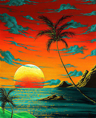 Tropical Painting - Abstract Surreal Tropical Coastal Art Original Painting Tropical Burn By Madart by Megan Duncanson