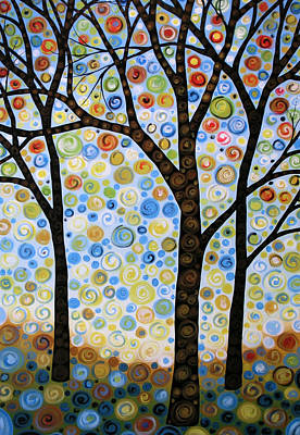 Tree Painting - Abstract Tree Painting Lights In The Sky by Amy Giacomelli