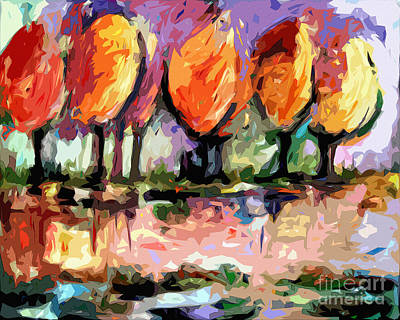 Abstract Trees By The Rivers Edge Landscape Art Print