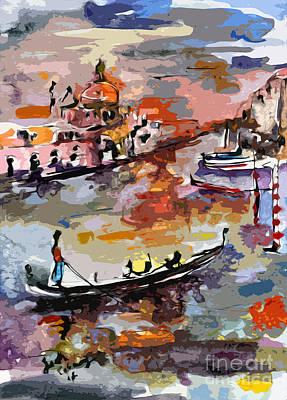 Painting - Abstract Venice Italy Gondolas by Ginette Callaway