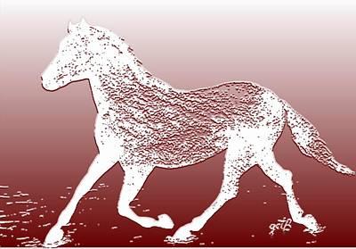 Priska Wettstein Pink Hues - Abstract Wild Running Horse  by Georgeta  Blanaru