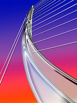Abstract Digital Painting - Abstract Wired Steel Arc On Rainbow Neon by Elaine Plesser