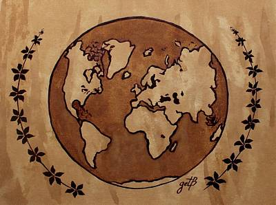 Abstract World Globe Map Coffee Painting Art Print