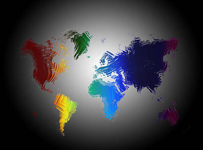 Abstract World Map Painting - Abstract World Map by Adam Vance