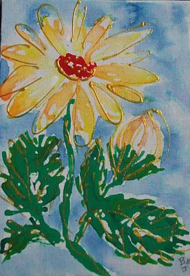 Abstract Yellow Daisy Art Print by Jan Soper