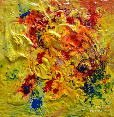 Original featuring the painting Abstract Yellow Swirls by Claire Bull