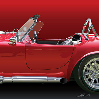 American Cars Drawing - Ac Cobra Detail by Alain Jamar