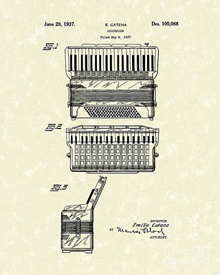 Accordion Drawing - Accordion 1937 Patent Art by Prior Art Design