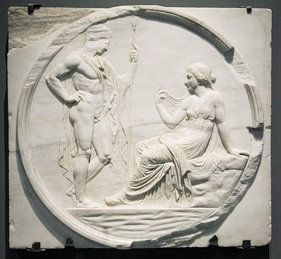 Nude Relief Photograph - Achilles Consulting Pythia, Roman Carving by Sheila Terry