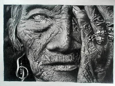 Old People Sketches Drawing - Aching Loneliness Of Life by Sohaj Singh Brar