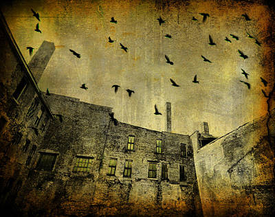 Old Buildings Digital Art - Industrial Acid Urban Sky by Gothicrow Images