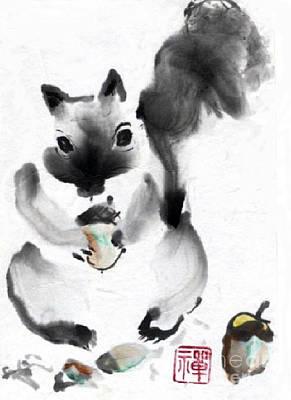 State-of-no-mind Painting - Acorns by Ellen Miffitt