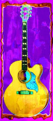 Acoustic Guitar Abstract Art Print by David G Paul