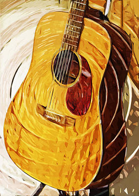 Acoustic On Stand Art Print by Tilly Williams