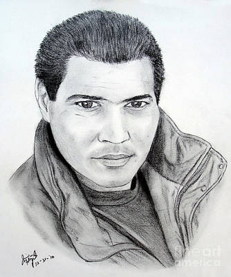 Bomber Jacket Drawing - Actor And Producer Tony A Angelo by Jim Fitzpatrick