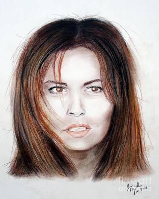 Kansas City Drawing - Actress Raquel Welch In Hannie Caulder by Jim Fitzpatrick