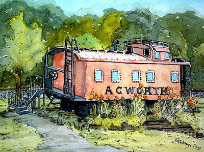Art Print featuring the painting Acworth Caboose by Gretchen Allen