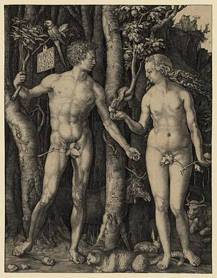 Adam And Eve, 1504 Engraving By German Art Print by Everett