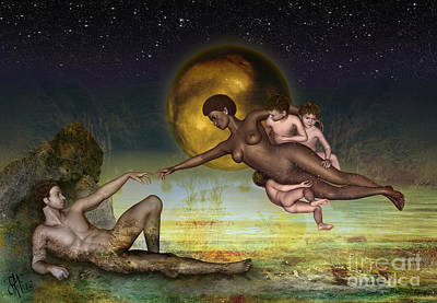 Adam Creation Revisited She Is Black Art Print by Rosa Cobos