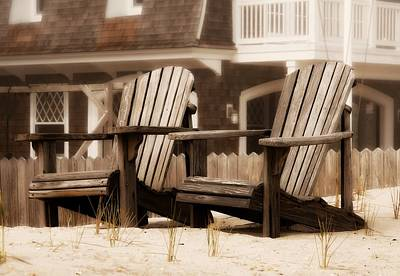 Photograph - Adirondack Chairs On The Beach - Jersey Shore by Angie Tirado